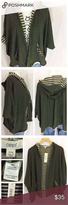 ODDY Olive Striped Jacket Excellently versatile layer by ODDY.  This olive jacket is medium weight (similar to sweatshirt), and oversized, designed for loose fit. Open front with wide sleeves, striped interior. Tag says size S/M but can easily fit L and XL too (I'm a size 12 and could wear this with additional under layer), listing as a M. NWT - excellent condition Tops