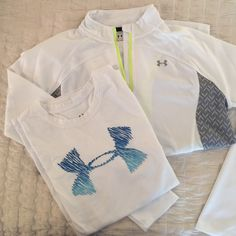 Under Armour Short/Long Sleeve Bundle Lightly worn Under Armour white short & long sleeve tops. The long sleeve 1/4 zip is a M and she short sleeve is a S. Under Armour Tops