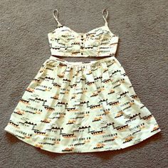 Printed Top and Skirt match outfit M NWOT Never been worn. Cute outfit for beach/vacation. Lovely cute matching top&bottom. Size medium PJK Skirts