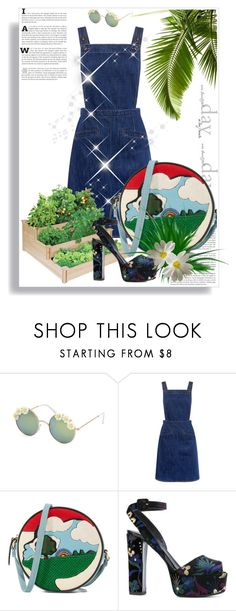 """Good afternoon #4"" by micettes ❤ liked on Polyvore featuring Full Tilt, M.i.h Jeans, Olympia Le-Tan, Giuseppe Zanotti, denim, DenimDress, platform and hippiechic"