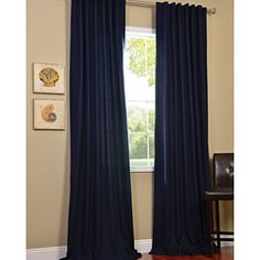 @Overstock.com - The Cotenza navy blue curtain panel is a versatile window treatment that  simulates cotton while offering the lightness and draping ease of polyester. This panel works with traditional and contemporary decor, and mounts with a three-inch pocket rod.http://www.overstock.com/Home-Garden/Navy-Faux-Cotton-Cotenza-Curtain-Panel/6749024/product.html?CID=214117 $49.99