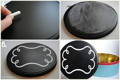 chalkboard cookie tin... what a perfect way to add a little something extra to all those tacky tins I have piled up!