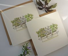 The Herb Tray herbs/kitchen/food watercolour art by CardCreative