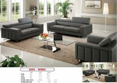 Sofa in Dark Gray Leather by Pantek w/Options Modern Leather Sofa, Leather Sofa Set, Grey Leather, Dark Gray Sofa, Outdoor Furniture Sets, Outdoor Decor, Love Seat, Modern Design, Upholstery