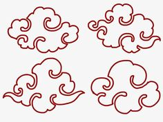 Spiral Drawing, Cloud Drawing, Cloud Art, Chinese Patterns, Japanese Patterns, Doodle Drawing, Tibetan Art, Clouds Pattern, Asian Design