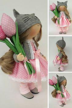 Fabric doll Tilda doll Rag doll Textile doll Muñecas Handmade doll Bonita doll Art doll Pink doll Soft doll Cloth doll Puppen by Irina E