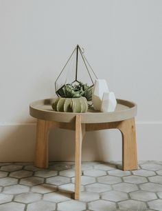 Concrete & Oak Side Table