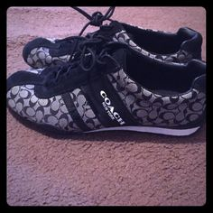 Black coach shoes Black coach shoes only worn a few times.. They are in great condition .. They don't fit me because I ordered the wrong size .. They are a 7.5 .. Let me know if you have any questions about them . Coach Shoes Athletic Shoes
