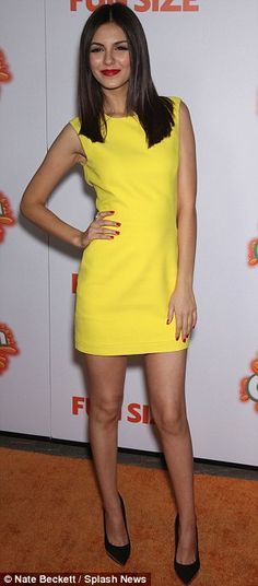 Victoria Justice matched the orange carpet for brightness at the premiere of Fun Size in LA tonight