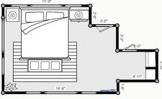 Upstairs bedroom space plan (art located directly on the wall facing entry to room)