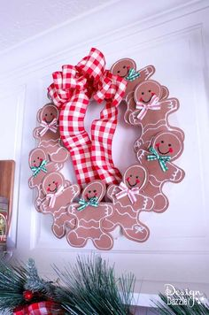 Decorating my kitchen for Christmas is so much fun with this adorable and easy gingerbread man wreath. Which is made of foam gingerbread and a pool noodle