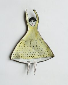 flying girl in pastel yellow dress - ceramic spoon rest