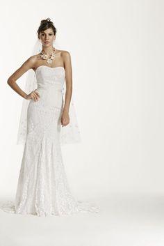 $549! Galina Strapless Lace Wedding Dress with Ribbon Detail Style WG3381 #Galina #WeddingDresses