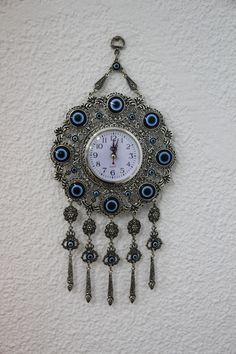 Turkish Evil Eye Wall Clock by www.grandbazaarshopping.com