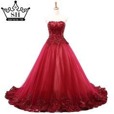 550a88f8378918 New Sexy Starpless Embroidered Lace Wedding Dresses Wine Red High Waist  Casamento Bridal Dress Vestido De Noiva 2019 Serene Hill
