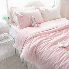 $323 Korea imports purchasing sweet princess pink flowers quilt denim / bedding package pink-ZZKKO