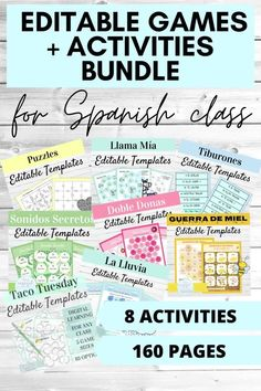 This bundle of 8 resources is a must have for any level of Spanish class! These activities are designed to help you bring fun and engagement into your Spanish classes year after year. There are over 150 pages in this bundle, filled with hands on games and activities that your students will love! Everything is editable so you can customize to meet the needs of your middle and high school Spanish students. Click through to see more! Spanish Activities, Hands On Activities, Writing Activities, Spanish Games, High School Spanish, Spanish 1, How To Speak Spanish, Fun Learning Games, Class Games