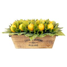 Create a lush tablescape or charming vignette with this lovely faux lemon arrangement, nestled in a rustic crate.