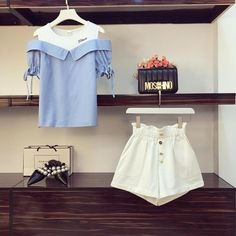 Small Fresh Striped T-shirt +Fashion Shorts Set – Orchidmet Fashion Shorts, Short Dresses, Summer Dresses, Patterns In Nature, Shirt Style, Classic Style, Short Sleeves, Fresh, T Shirt
