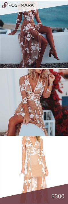 "For Love and Lemons Elenora Maxi Dress. For Love and Lemons Elenora Maxi Dress in size small.  Seen on Natasha Oakley, Paris Hilton, and Alexisren. Never been worn with tags. Original retail price when purchased was $350. I'm 5'8"" 32B cup, 25 waist, 34 hip. It is fitted above the waist and flows below the waist. Fits beautifully, selling because I bought it 6 months ago and haven't worn it. Price if firm and no trades For Love and Lemons Dresses Maxi"