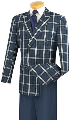 2pc Double Breasted, Side Vents, Solid Pleated Pants, Vinci Mens Suit