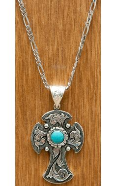 Montana Silversmiths Antiqued Silver Cross with Flower and Turquoise Necklace