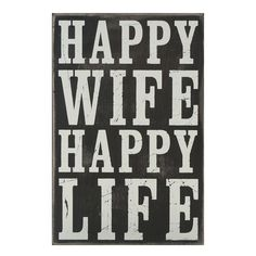 Typography Box Sign Happy Wife Happy Life | Shopko.com