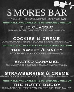 SMORES BAR PARTY PRINTABLE bystephanielynn.com:
