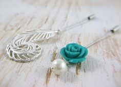 Feather and Rose Hijab Pin Set #hijabista #hijab #hijabi muslimah fashion