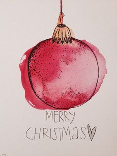 Aquarell Christmas Card - Although many of us have recently chosen to take a hol. Aquarell Christmas Card - Although many of us have recently chosen to take a holiday away from home on holidays and Watercolor Christmas Cards, Diy Christmas Cards, Watercolor Cards, Xmas Cards, Christmas Art, Diy Cards, Holiday Cards, Christmas Holidays, Christmas Bulbs