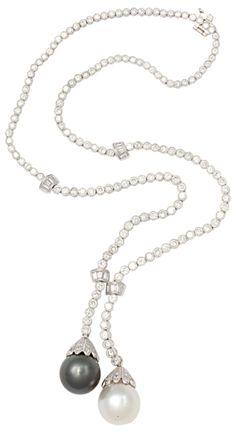 Boucheron - Diamond Sautoir with South Sea Pearls - 10 ct of Diamonds, 15mm South Sea Pearls in 18kt White Gold