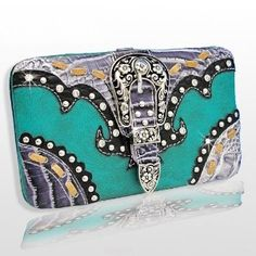 Amazon.com: Buckle Wallet w/Rhinestone & Studs-TURQUOISE: Everything Else Cute Wallets, Different Styles, Studs, Women Accessories, Turquoise, Purses, Amazon, My Style, Bags