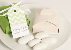 Jordan Almond Wedding Favor Boxes - Candy Boxes to match your Wedding Colors - Easy to make Favors. $15.00, via Etsy.