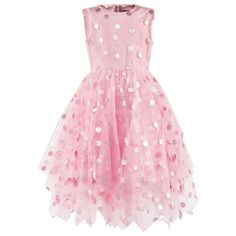 Pink Dotted Tulle Dress