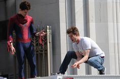 Andrew Garfield | 29 Actors Hanging Out With Their Body Doubles