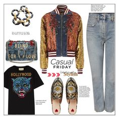 """Casual Friday"" by faten-m-h ❤ liked on Polyvore featuring AGOLDE, Gucci, outfitoftheday, casualfriday, polyvoreeditorial and guccijacket"