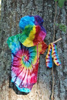 Tie Dye Baby Gift Set Onesie Hat and Socks by BondurantMountainArt, $35.00