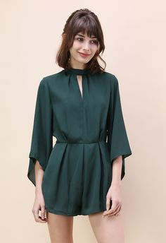 Alluring Open Back Chiffon Playsuit in Dark Green