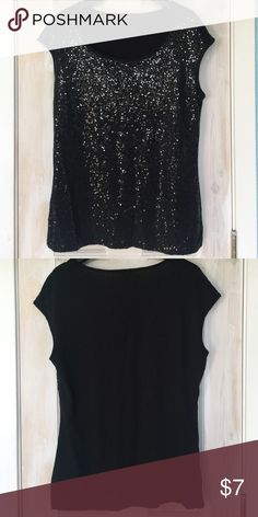 Black Sparkle Top Great T for work or play! Hand wash cold. Ann Taylor Tops Tees - Short Sleeve