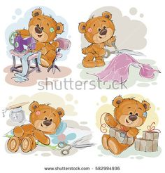 Set of vector clip art illustrations of teddy bears and their hand maid hobby - sewing, scrap booking