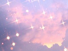 pink sparkles trees clouds