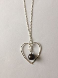 Silver 1.5 Inch Heart a Necklace With 10mm Black Fresh Water Pearl On A 20 Inch Chain by GiftsbyKarenM on Etsy