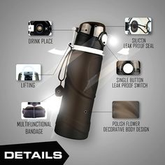 Water Bottle Handy Compact 750 ml Collapsible Leak Proof BPA Free Travel Gadget #TravelGadgeteer #Custom