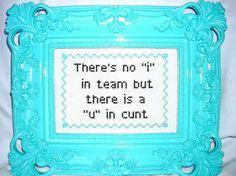 "there is no ""i"" in team, but there is a ""u"" in cunt."