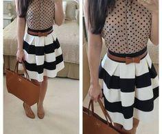Striped work mini skirt | outfits i want