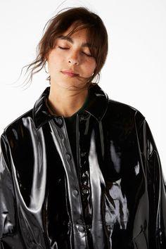 NEW!Shiny vinyl coat