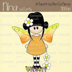 Spring butterfly Nina dolls 0376 digital clip art set by Withart, $2.99
