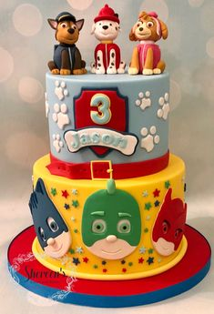 Paw patrol and pj masks themed cake Pj Masks Birthday Cake, Paw Patrol Birthday Cake, 4th Birthday Cakes, Boy Birthday Parties, Birthday Ideas, Torta Paw Patrol, Thomas The Train Birthday Party, 4th Of July Cake, Donut Party