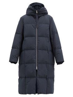 Jil Sander Harness-Strap Quilted-Down Shell Hooded Coat Navy Coat, Chunky Boots, Tailored Trousers, Jil Sander, Who What Wear, Hoods, Autumn Fashion, How To Wear