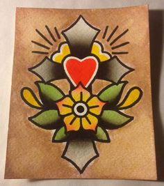 Best Watercolor tattoo - 4x5in. Cross & Flower - Traditional Old School Tattoo Flash Watercolor Painting
